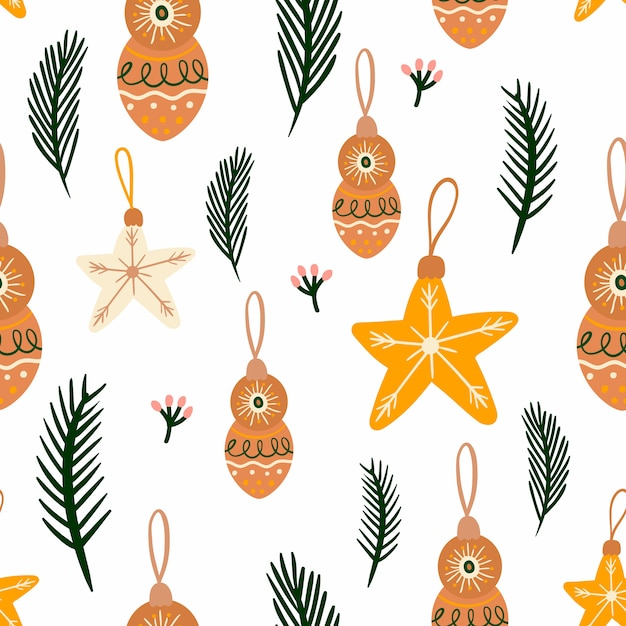 Christmas seamless pattern with seasonal elements Premium Vector