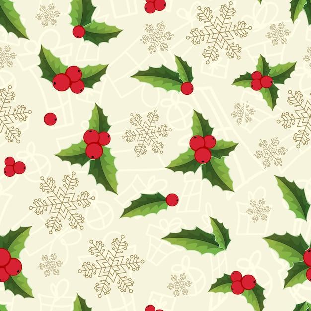 雪片と明るいヤドリギの葉とクリスマスのシームレスなパターン 無料ベクター