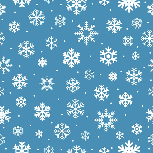 Christmas seamless pattern with snowflakes. Premium Vector