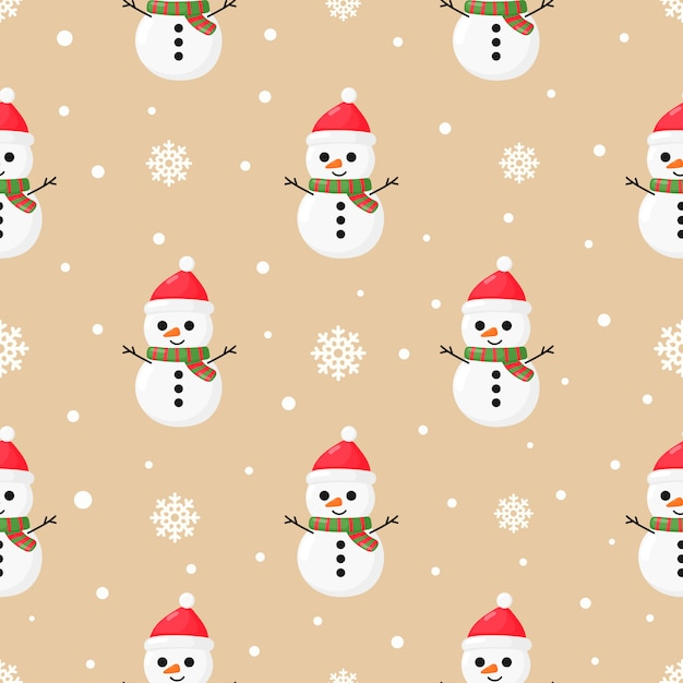 Christmas seamless pattern with snowman Premium Vector