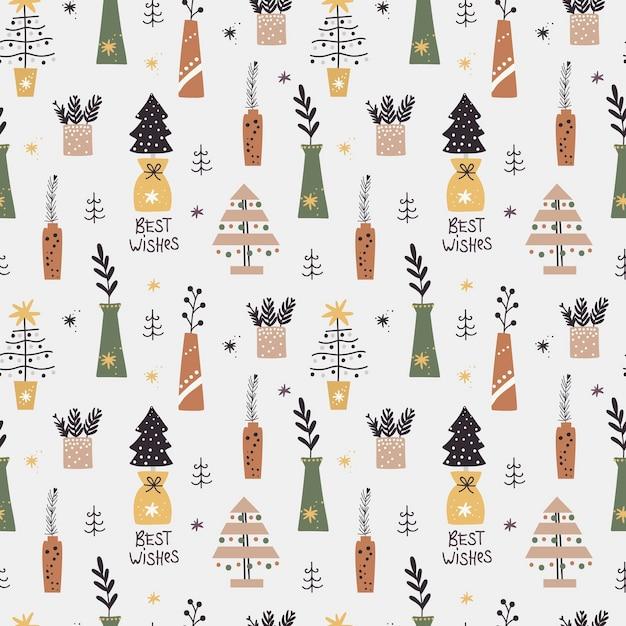 Рождественский фон с елками и ветками в вазах Premium векторы
