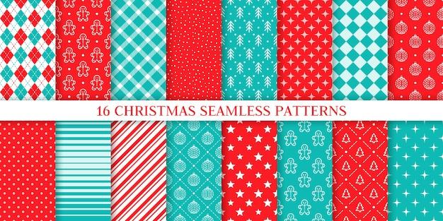 크리스마스 완벽 한 패턴입니다. 크리스마스, 새 해 텍스처입니다. 진저 브레드 남자, 나무, 눈, 격자 무늬, 공, 별, 줄무늬, 마름모와 배경. 인쇄 설정. 축제 포장지. 빨간색 파란색 그림 프리미엄 벡터