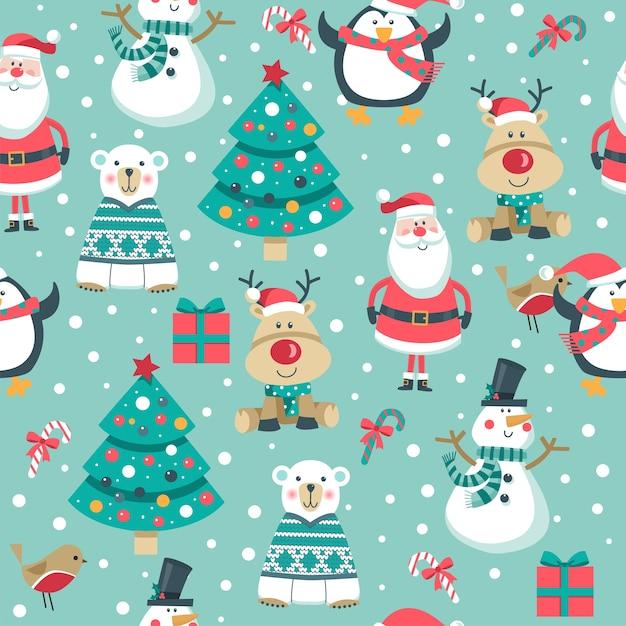 Christmas seamless pattern. Premium Vector