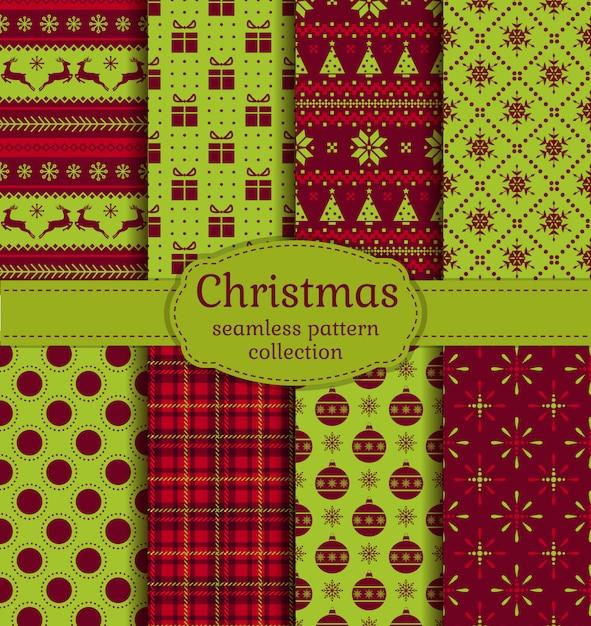 Рождественские бесшовные модели набор Premium векторы