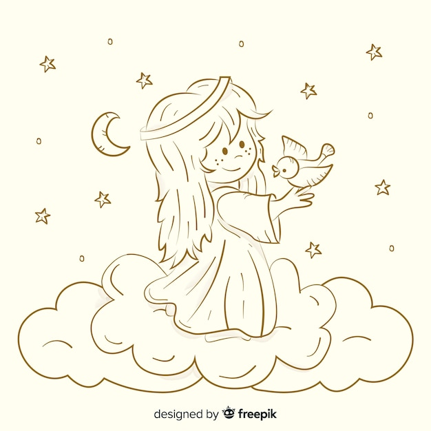 Christmas sepia angel background Premium Vector