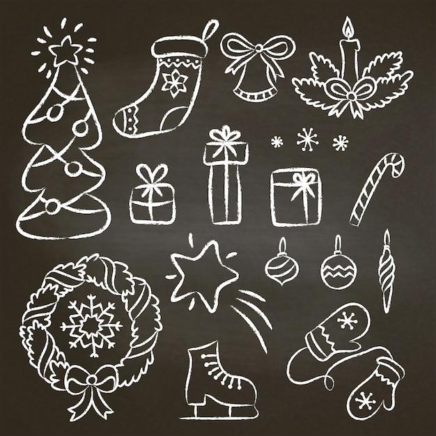 Christmas set of hand drawn chalk contour doodles Premium Vector