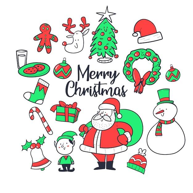 Рождественский набор, рисованной стиль. коллекция каракули Premium векторы