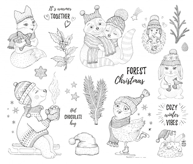Christmas set of sketch forest animals. Premium Vector