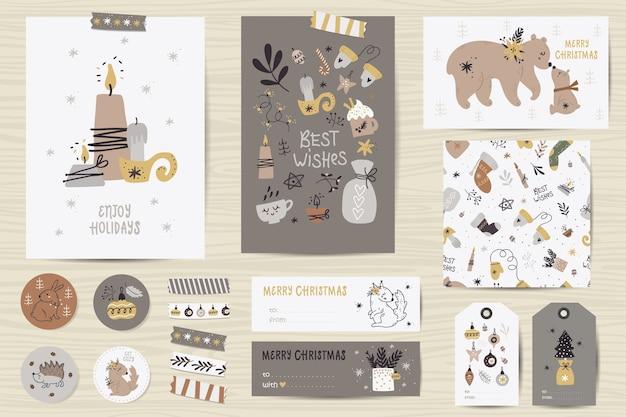Рождественский набор с рождественскими открытками, заметками, наклейками, этикетками, марками, бирками с рождественскими иллюстрациями. Premium векторы