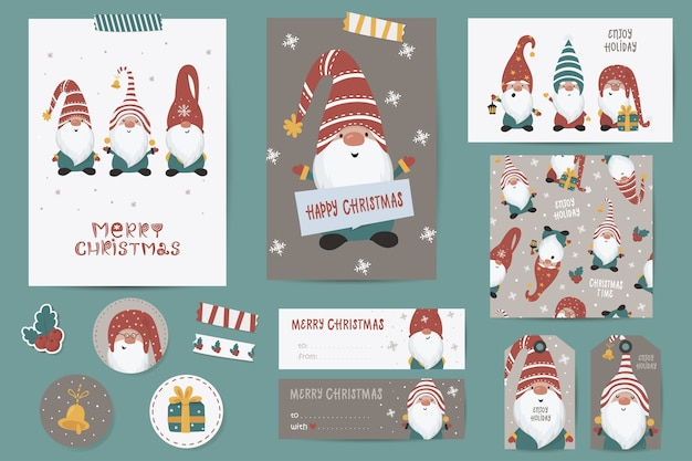 Christmas set with christmas cards, notes, stickers, labels, stamps, tags with winter christmas illustrations, wishes template. printable cards templates. Premium Vector