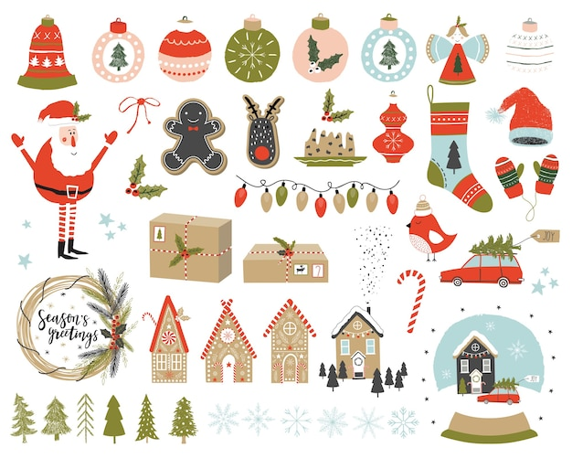 Christmas set with elements. Premium Vector