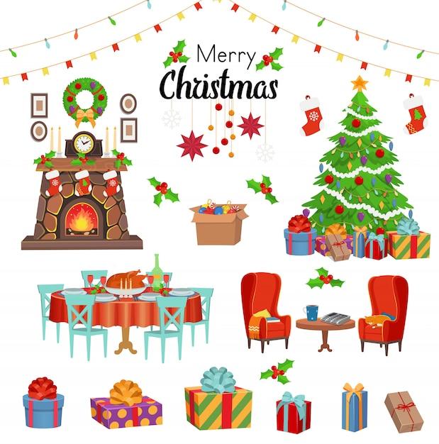 Рождественский набор с камином, стульями, рождественской елкой, праздничным столом с едой, подарками, гирляндами. векторные иллюстрации шаржа. Premium векторы