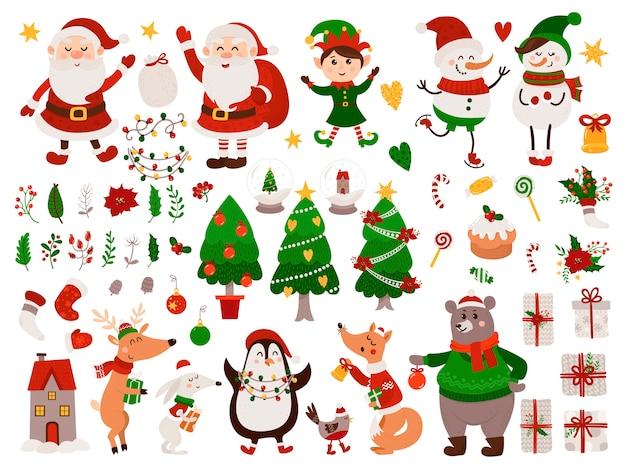 孤立した動物、ノーム、サンタクロース入りクリスマス Premiumベクター
