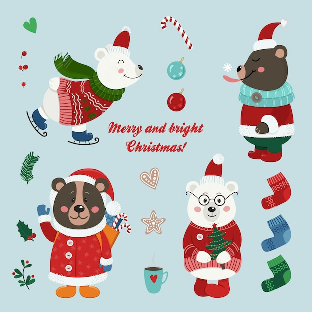 Christmas set with isolated cute bears Premium Vector