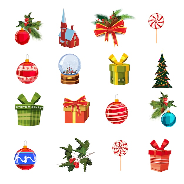 Christmas set with pine branches, decorations, candies, ribbons, boxes of gifts, cnow globe, pine, christmas balls Premium Vector