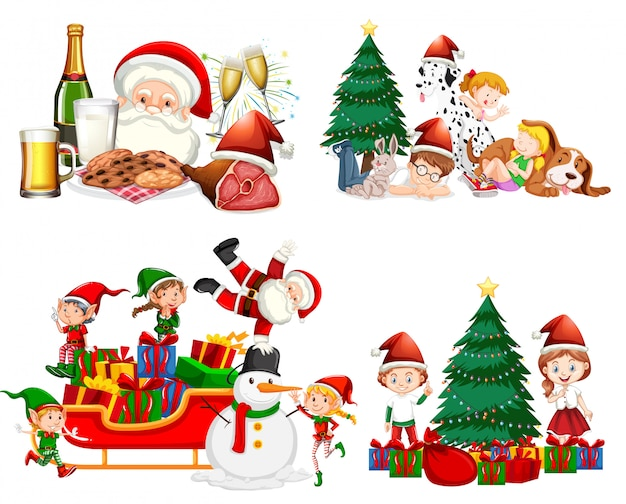 Christmas set with santa and children Free Vector