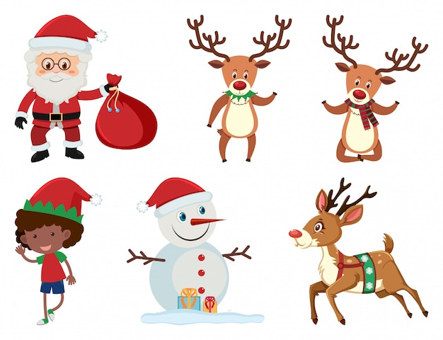 Christmas set with santa and reindeer Premium Vector