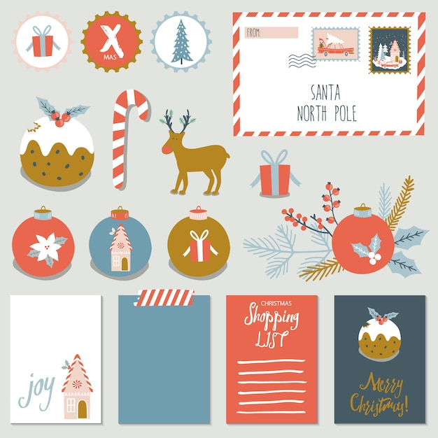 Christmas set with stickers and cards. Premium Vector