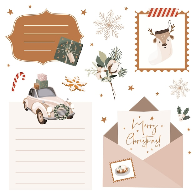 Christmas set with stickers and labels. Premium Vector
