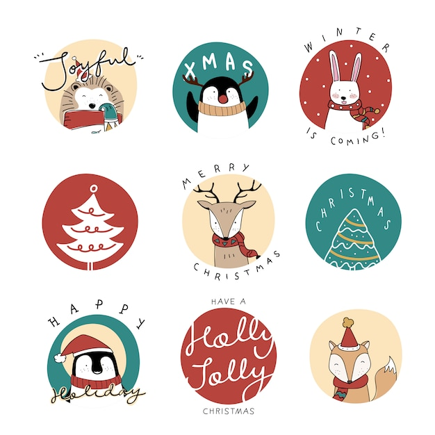 Christmas set Free Vector