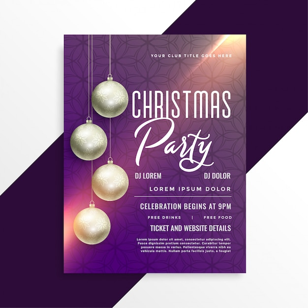 christmas shiny party invitation flyer template vector free download