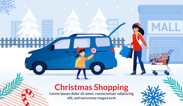 Christmas shopping during sale at shop mall poster Premium Vector