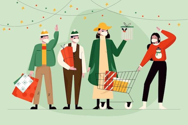 Scena dello shopping natalizio con persone che indossano la maschera Vettore gratuito