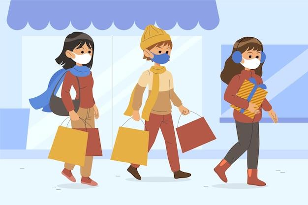 마스크를 착용하는 사람들과 크리스마스 쇼핑 현장 무료 벡터