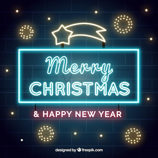 Christmas sign background of neon lights Free Vector