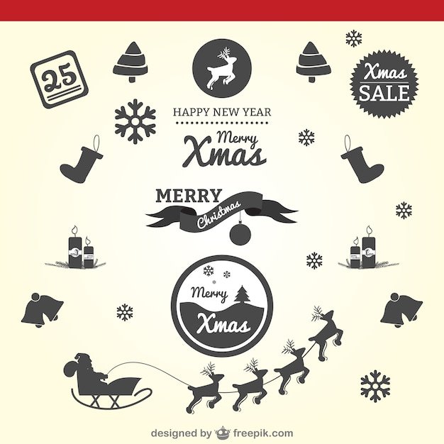 Christmas silhouettes vector Free Vector