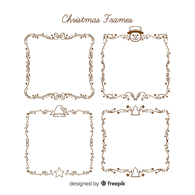 Christmas simple frame pack Free Vector