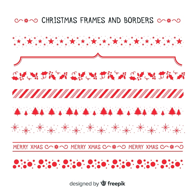 Christmas simple frames and borders collection Free Vector
