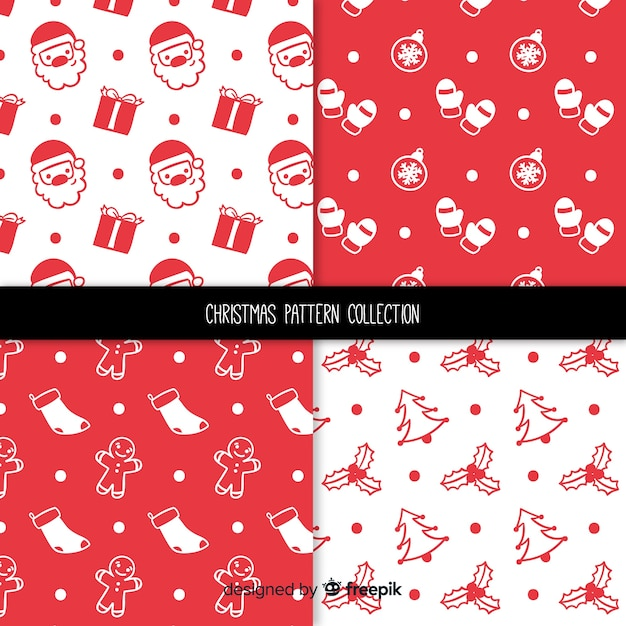 Christmas simple pattern collection Free Vector