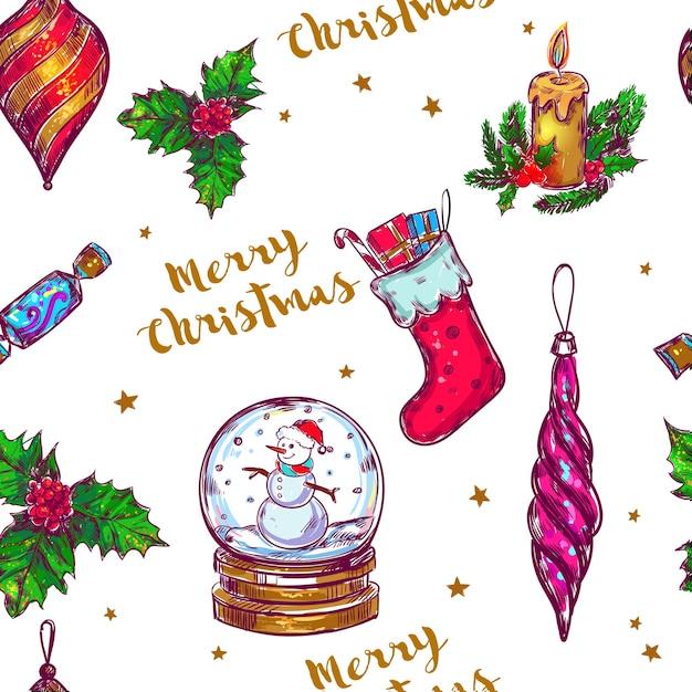 クリスマススケッチシームレスパターン Premiumベクター