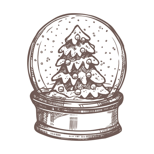 Christmas sketch with snowglobe and christmas tree in it.  hand drawn style. festive new year decoration Premium Vector