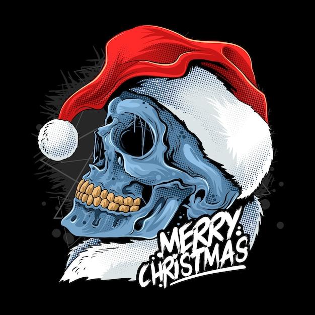 Рождественский череп в шляпе санта-клауса Premium векторы