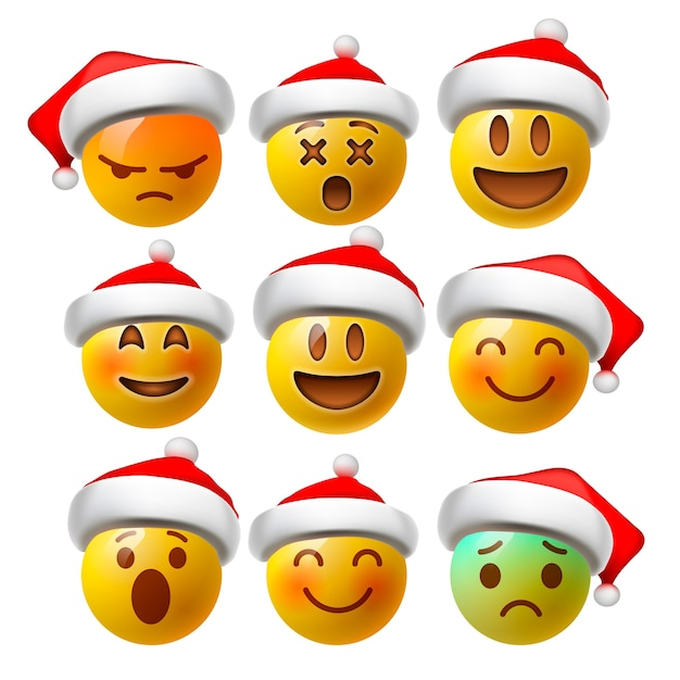 Christmas smiley face emoji or yellow emoticons in glossy 3d realistic with santa's hat Premium Vector