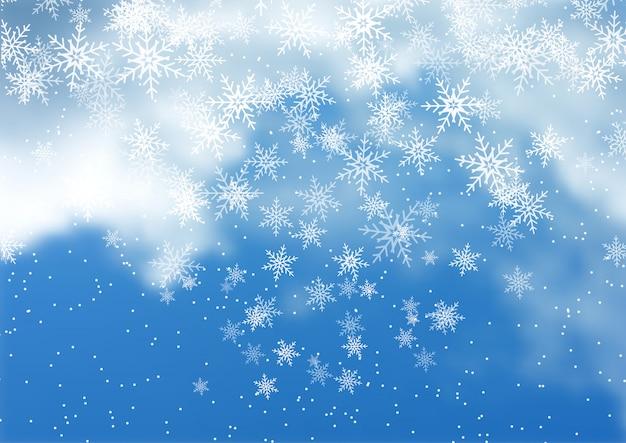 クリスマス雪背景 無料ベクター