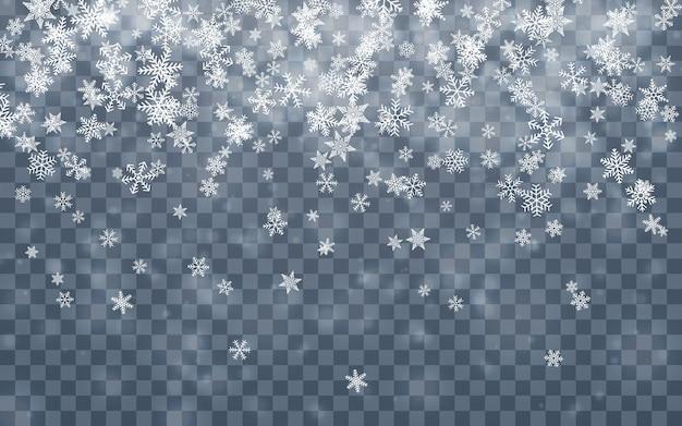 Рождественский снег. падающие снежинки на синем фоне. снегопад. Premium векторы