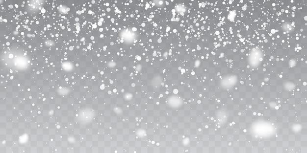 クリスマスの雪。透明な背景に降る雪。降雪。 Premiumベクター