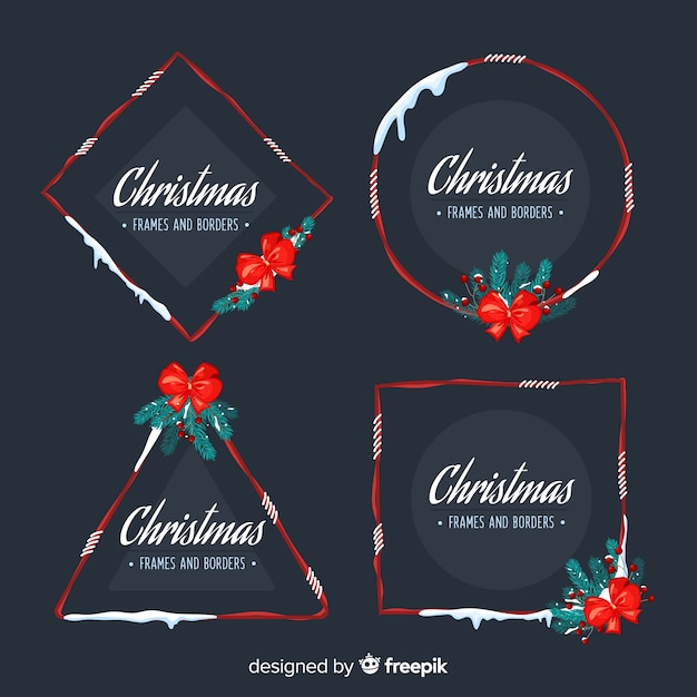 Christmas snow frames and bordes collection Free Vector