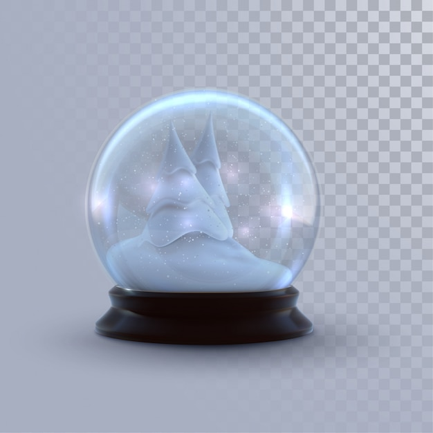 Christmas snow globe isolated on checkered transparent background.  3d illustration. holiday realistic decoration. winter xmas ornament. Premium Vector