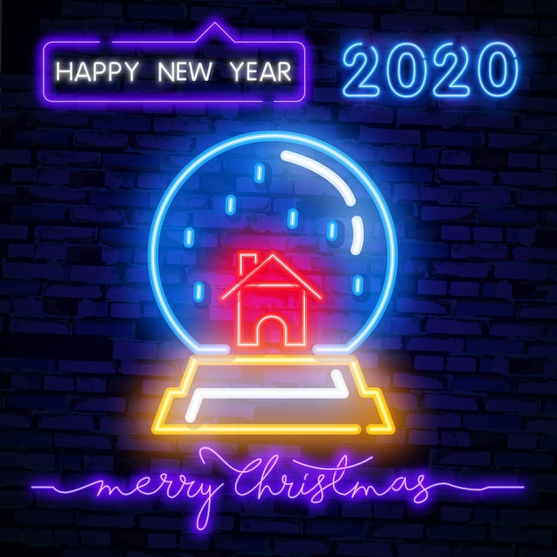 Christmas snow globe neon sign Premium Vector