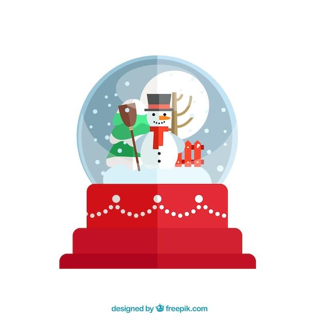 Christmas snow globe with a happy\ snowman