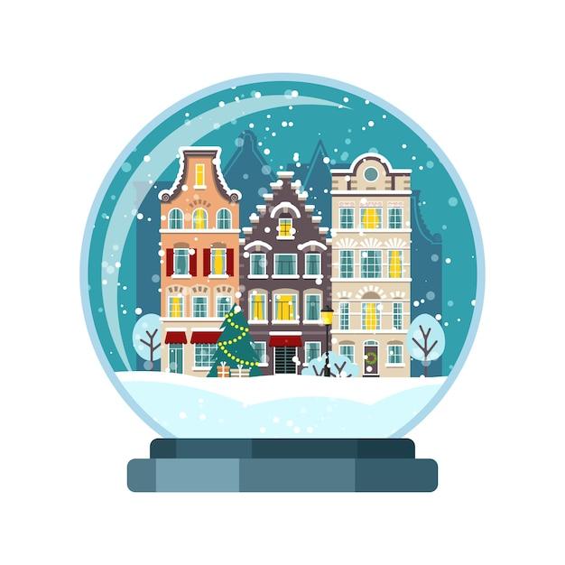Рождественский снежный шар с домами амстердама. изолированная иллюстрация Premium векторы
