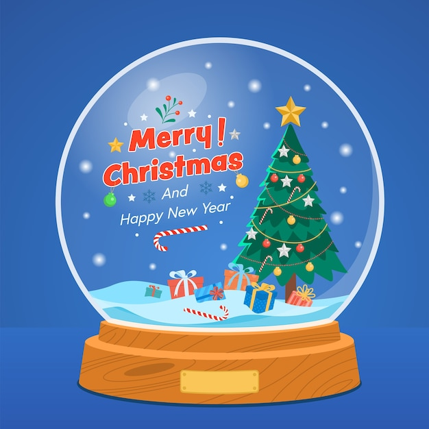 Christmas snow globe with pine tree and gift box on starry blue. Free Vector