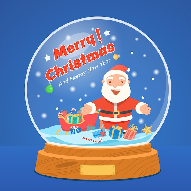 Christmas snow globe with santa claus and gift box on starry blue Free Vector