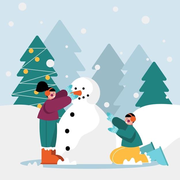 Illustrazione di scena di neve di natale con i bambini Vettore gratuito