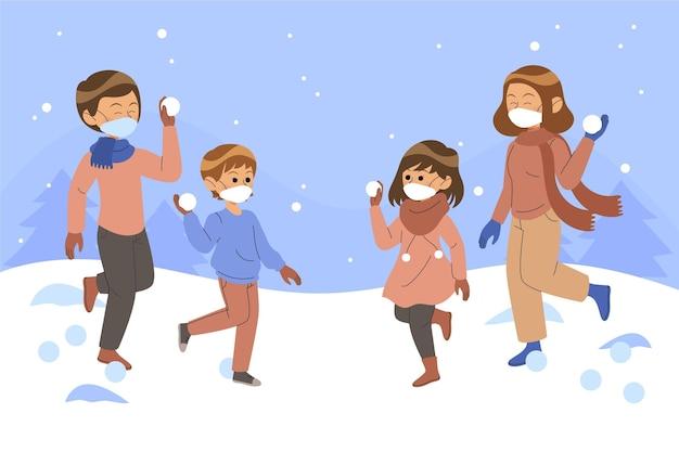 マスクとクリスマスの雪のシーン Premiumベクター