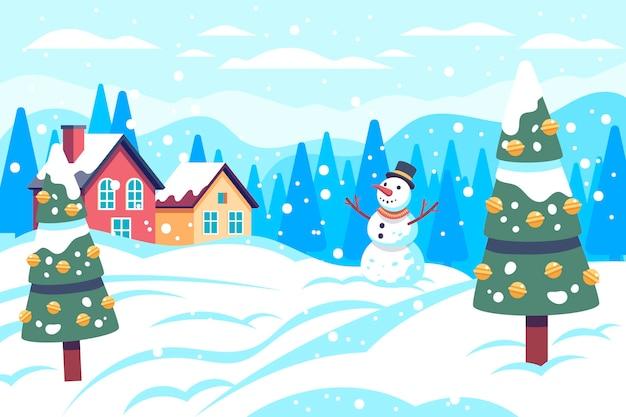 クリスマスの雪のシーン 無料ベクター